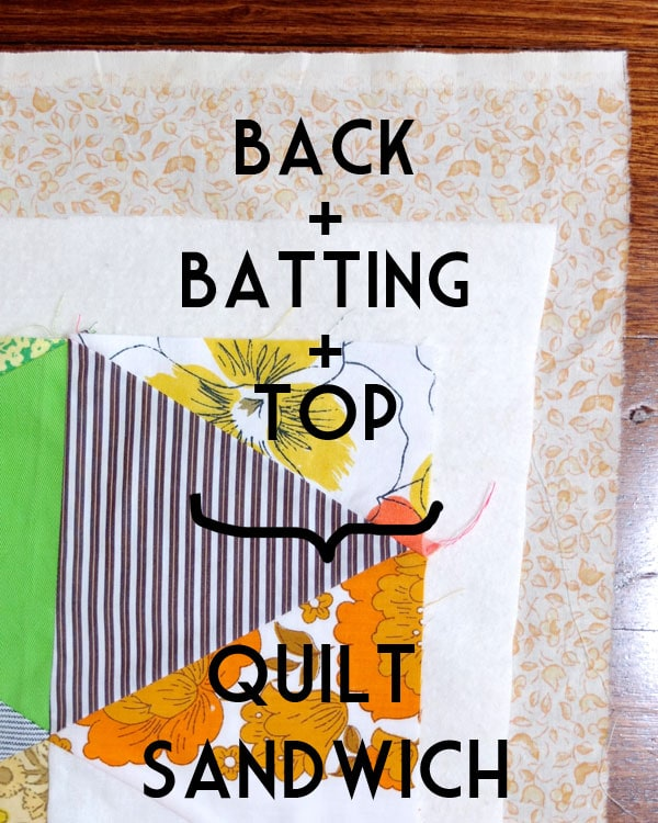 sandwich the quilt batting between top and back