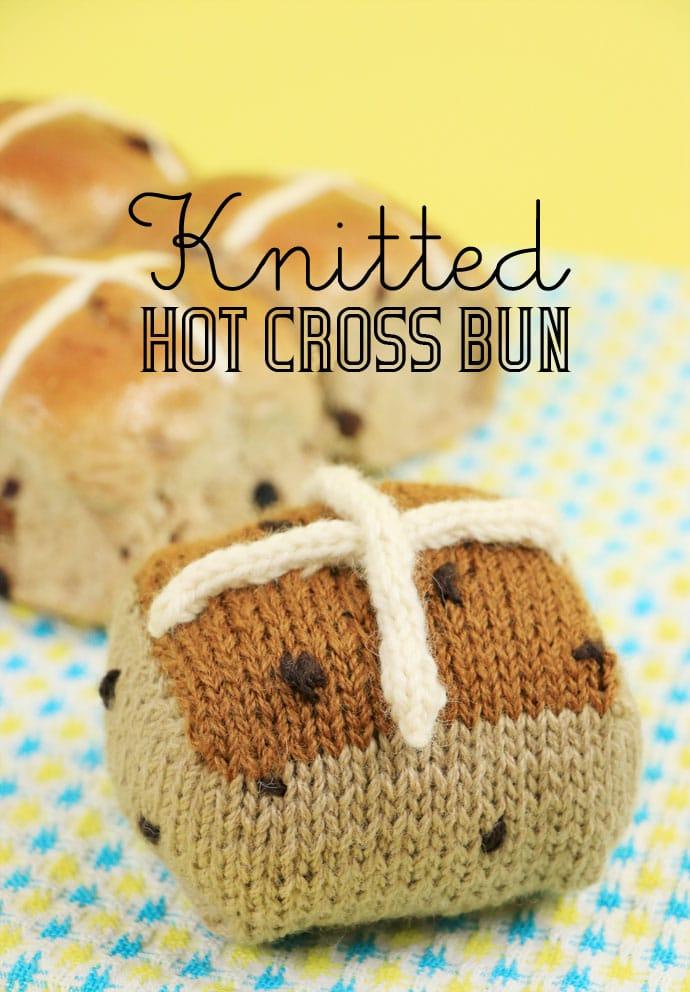 Knitted Hot Cross Bun for Easter