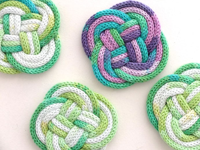 French Knitted Knotted Coasters My Poppet Makes