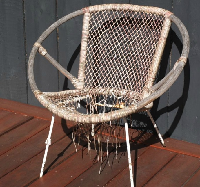 old broken saucer chair and how to fix it