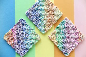 Crochet Rainbow Washcloth Pattern