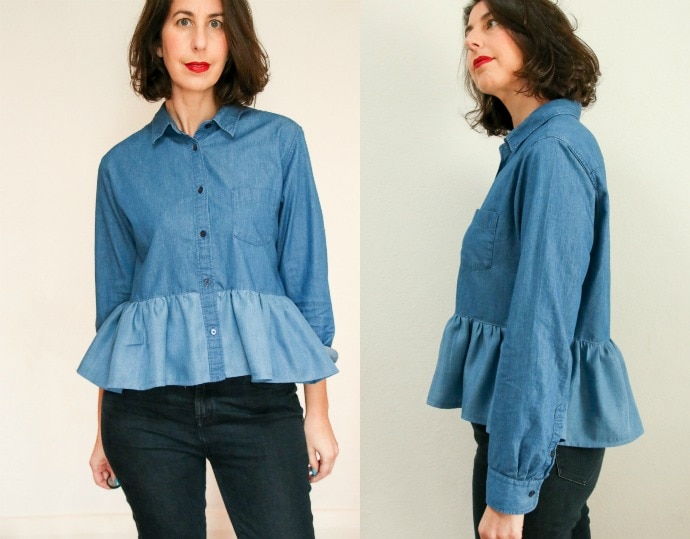 Ruffle bottom blouse denim shirt refashion