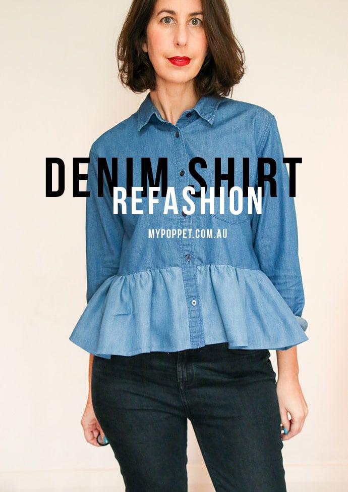 Denim Shirt refashion - How to make a ruffle shirt