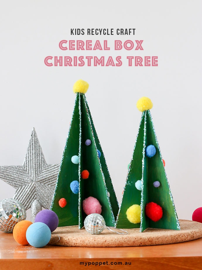 photograph regarding Printable Christmas Decorations identify Small children Recycle Craft: Cereal Box Xmas Tree My Poppet Tends to make