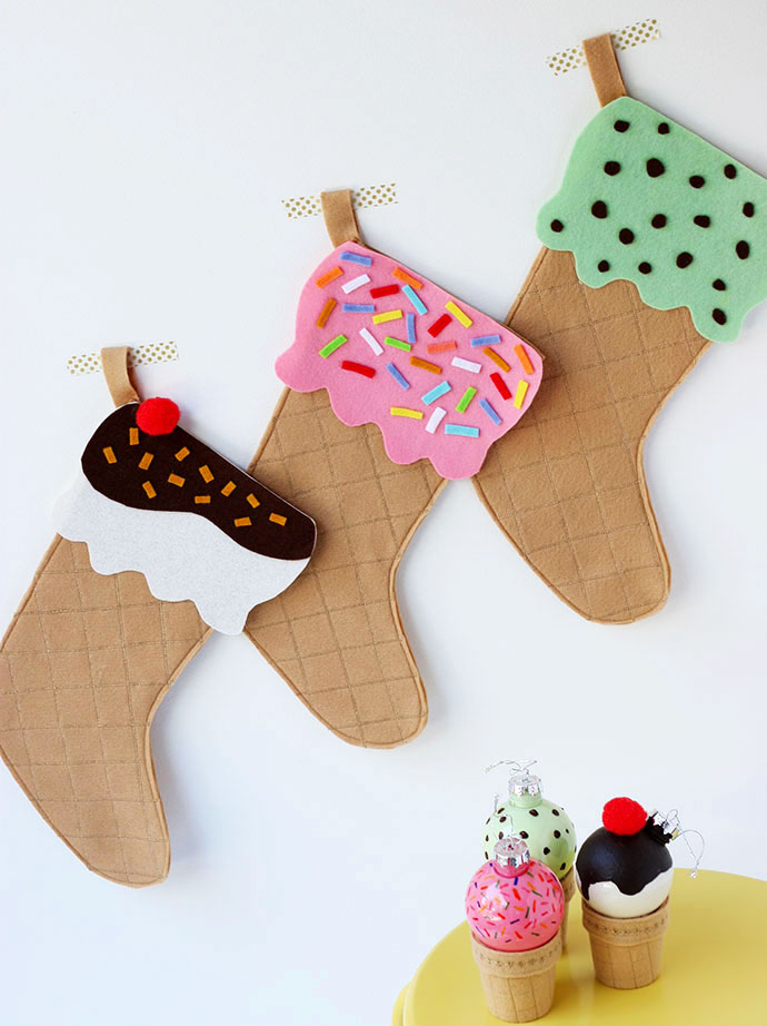 DIY Ice Cream Cone Christmas Stocking mypoppet.com.au