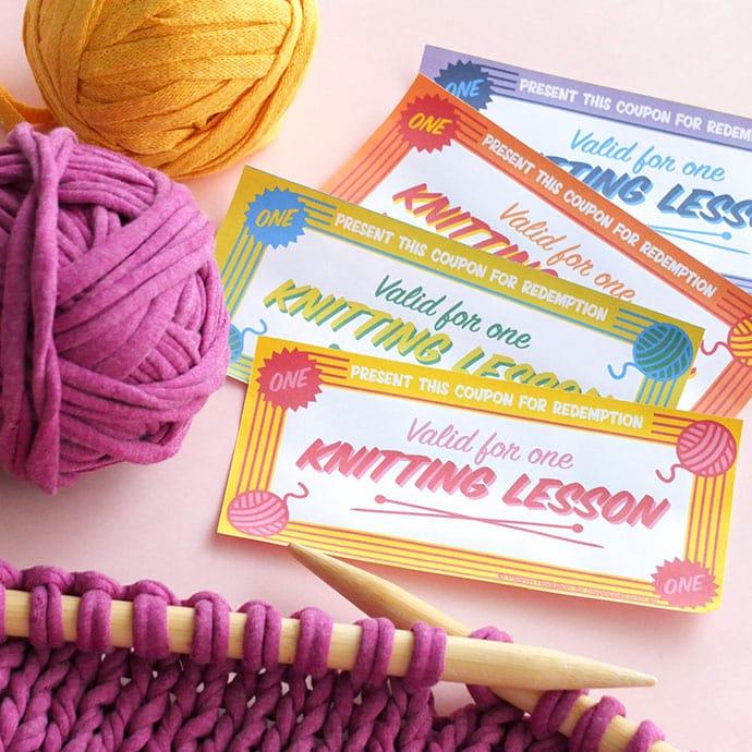 Knitting lesson gift certificate mypoppet.com.au