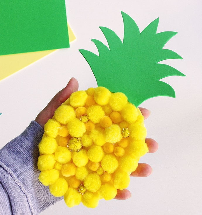 Kids Craft - Make a Pom Pom Pineapple mypoppet.com.au