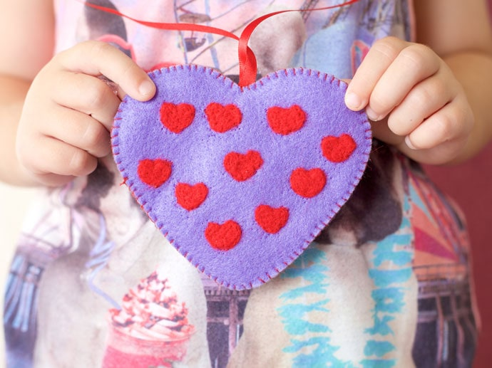 Valentine's Day Felt Heart Charm