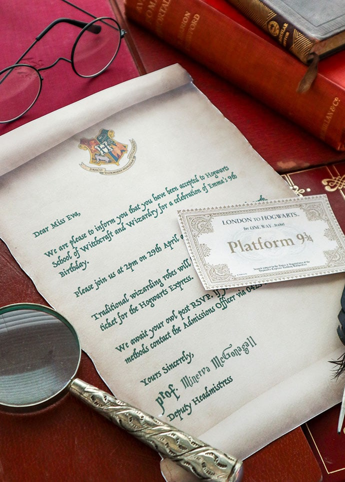 Hogwarts acceptance letter Harry Potter Party invitation - mypoppet.com.au