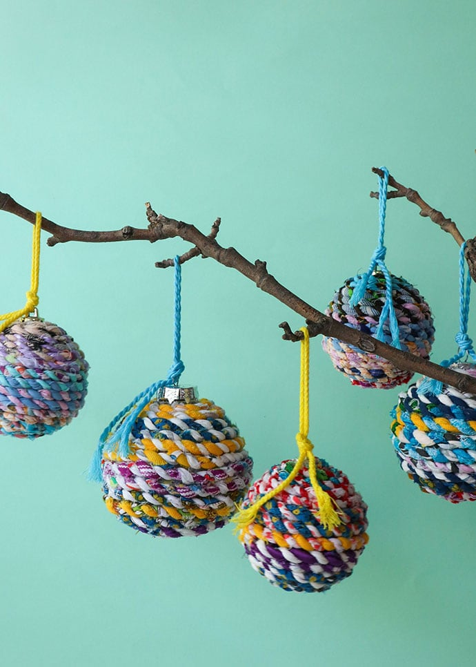 Scrap Fabric Twine Recycled Christmas Ornaments | My ...