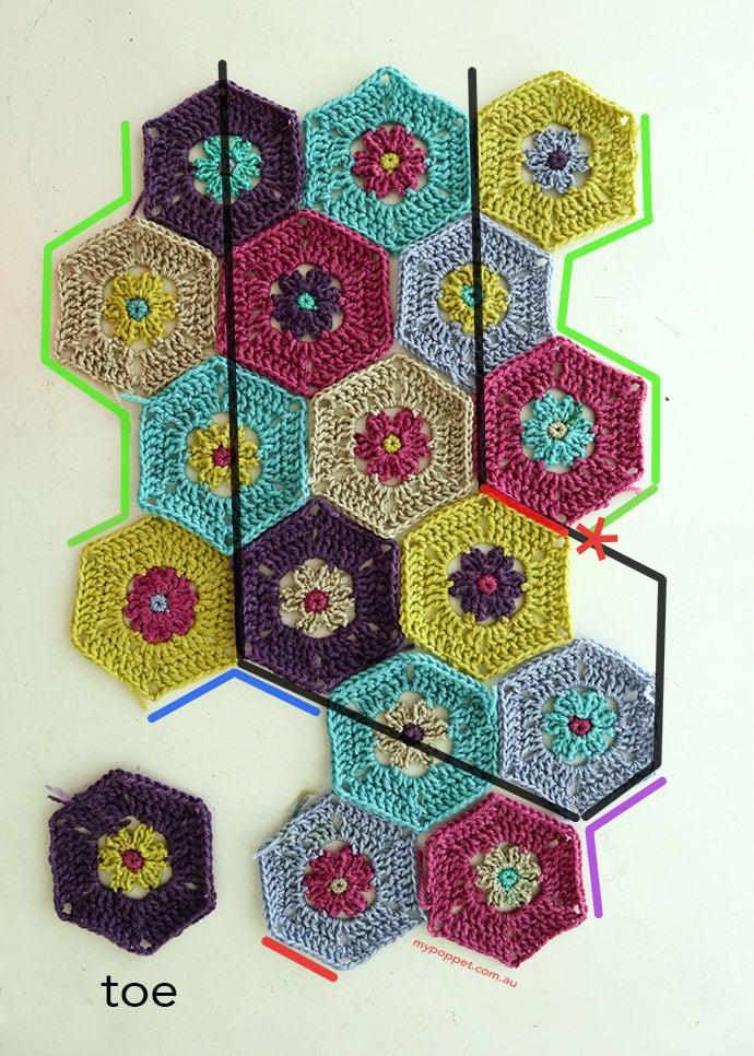 Hexagon crochet stocking pattern - mypoppet.com.au