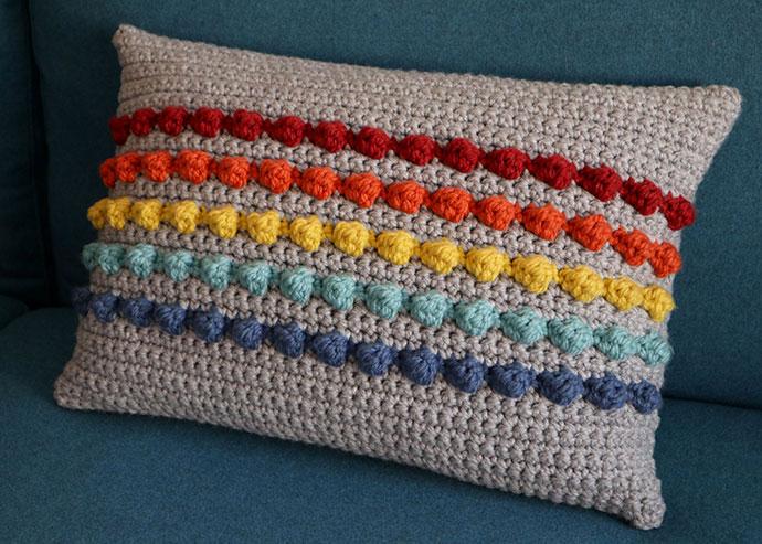 Rainbow Bobble Crochet Pillow Pattern
