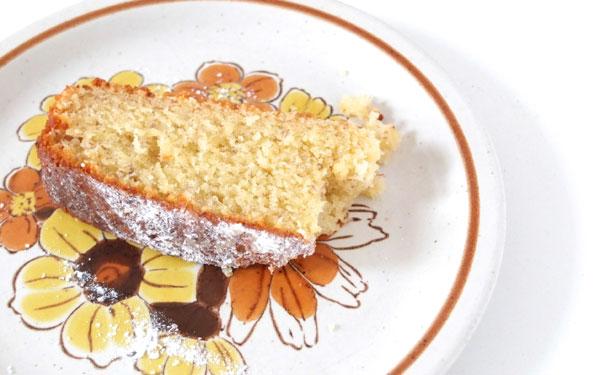 slice of banana cake on retro plate