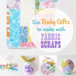 Six baby gifts with fabric scraps