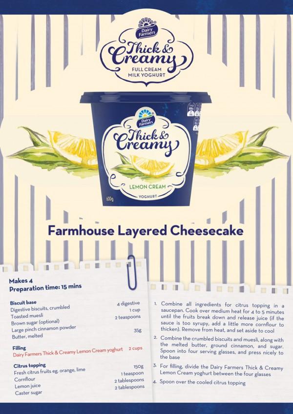 dairy darmers cheescake recipe card