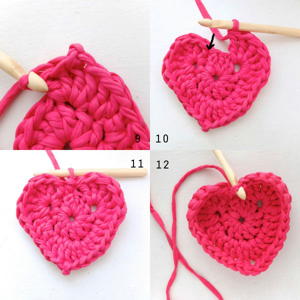 Heart crochet base basket