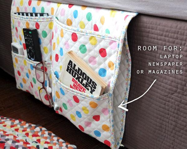 Side pocket in bedside caddy