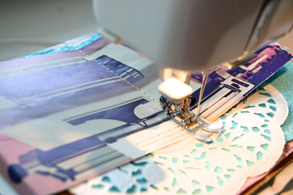 binding note book with a sewing machine