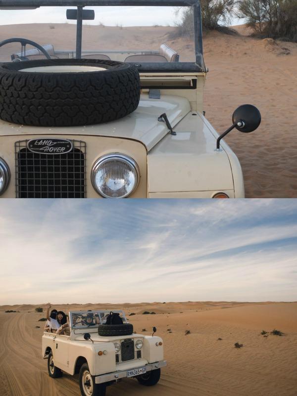 Vintage Land Rover sunset safari dubai mypoppet.com.au
