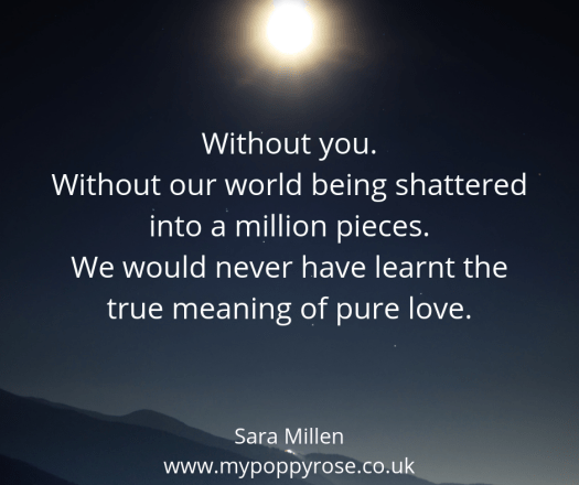 Angel Mummy Quote: Without you. Without our world being shattered into a million pieces. We would never have learnt the true meaning of pure love.