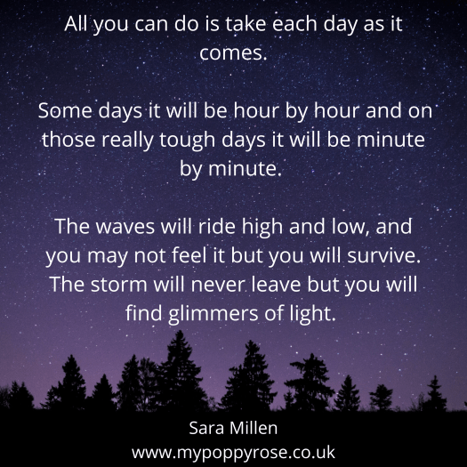 Grief Quote: All you can do is take each day as it comes. Some days it will be hour by hour and on those really tough days it will be minute by minute. The waves will ride high and low, and you may not feel it but you will survive. The storm will never leave but you will find glimmers of light.