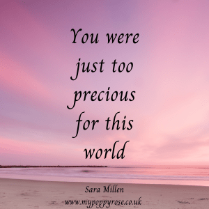Baby loss quote: You were just too precious for this world.