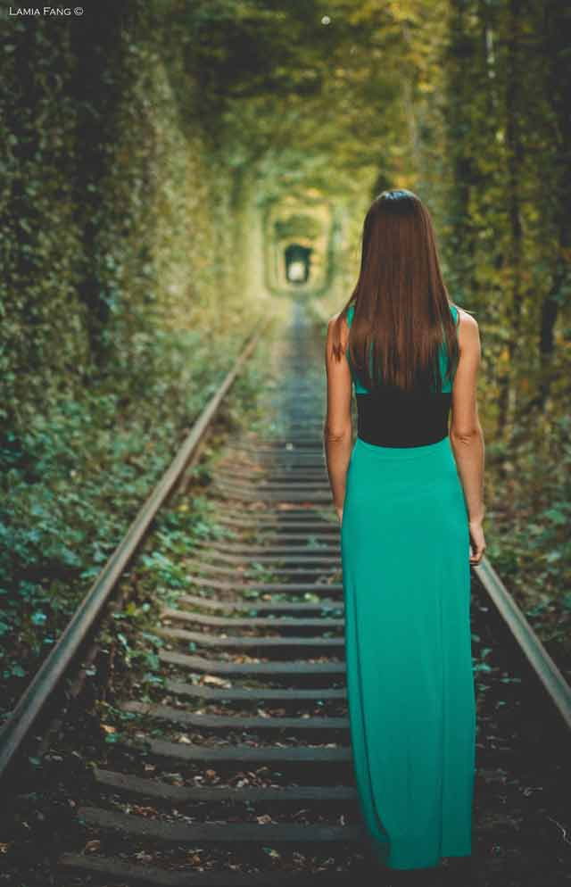 Tunnel of love Railway-track Girl portrait photographs