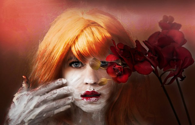 Red head girl conceptual portrait photography