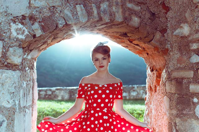 Outdoor portrait photography of a girl in red dress