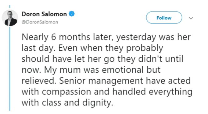 Screenshot of Doron's tweet