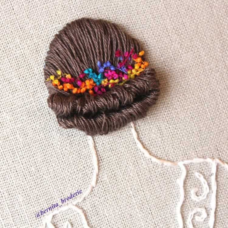 This embroidery technique makes thread look like luscious hair flowing off the hoop