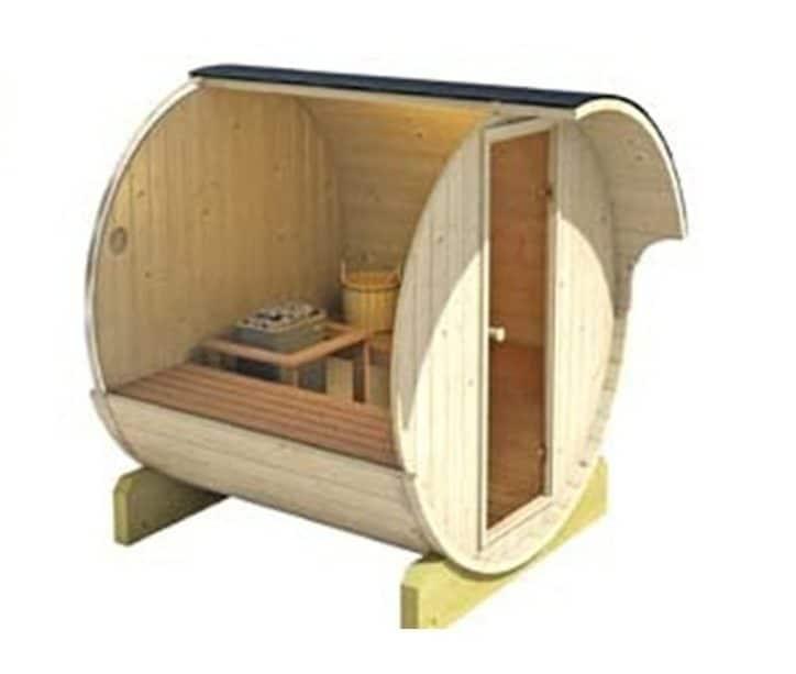 Mini sauna good for four people.
