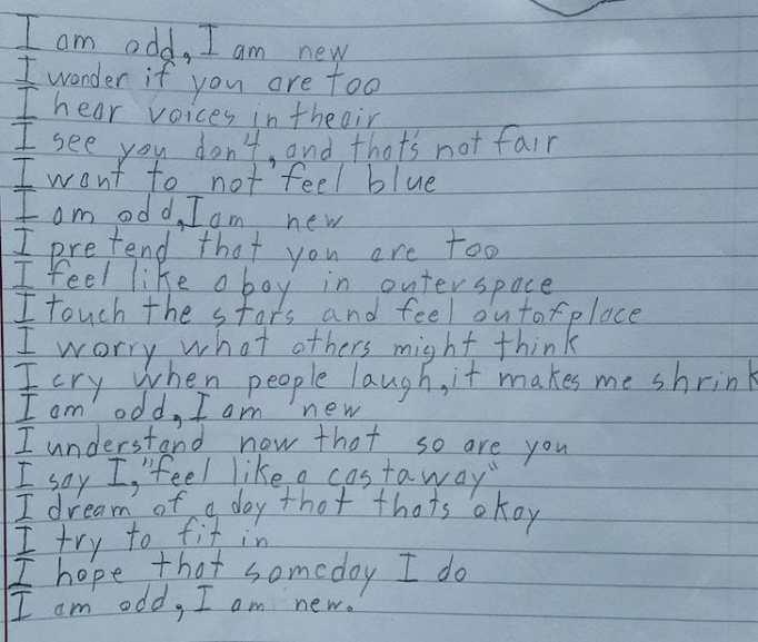 Boy with developmental delays due to autism writes powerful poem