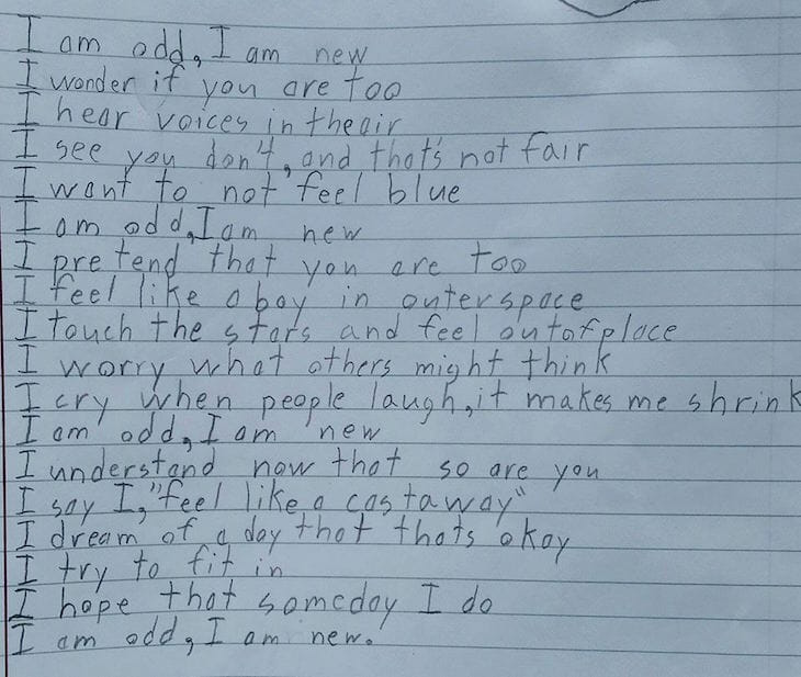 Boy with developmental delays due to autism writes powerful poem