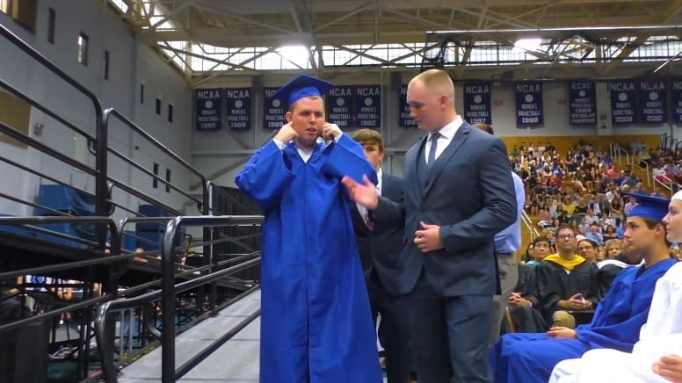 A silent ovation during a graduation ceremony.