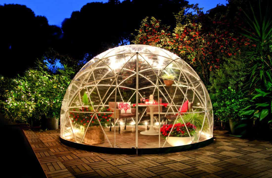 The Garden Dome Igloo at night