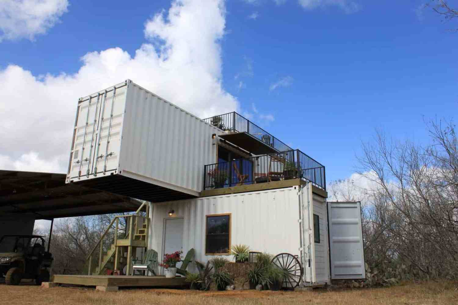 two story home made of shipping containers