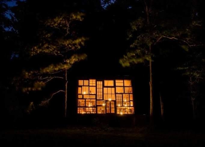 cabin made of repurpose glass window