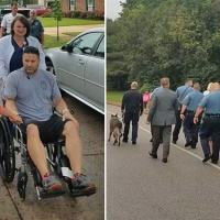 Cop battling cancer leaves hospital to walk son with autism to school