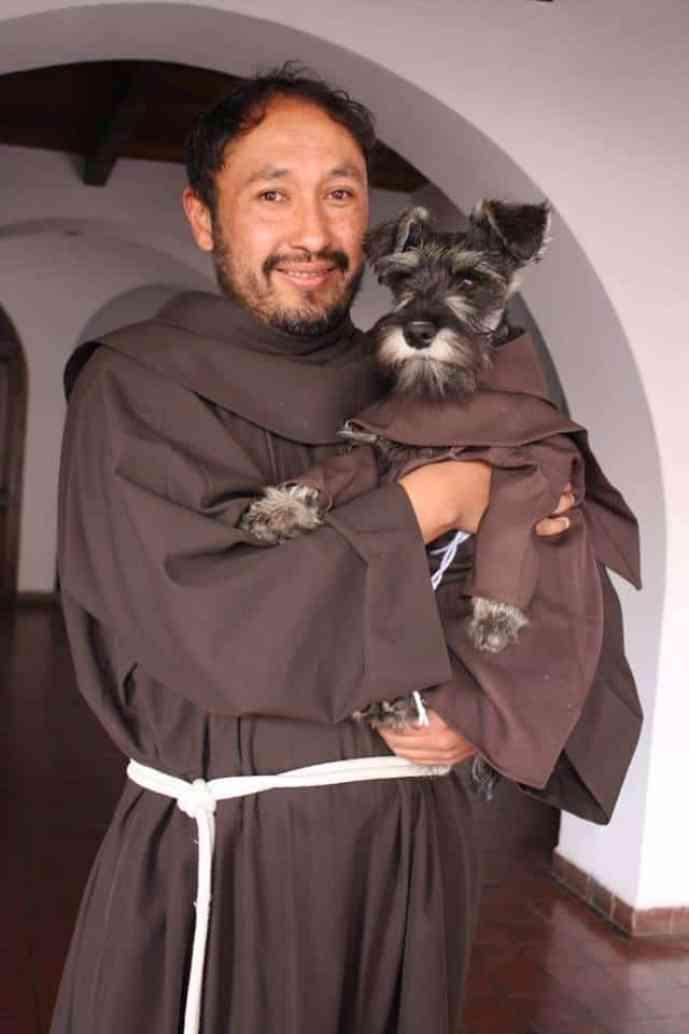 the monastery with a friar dog