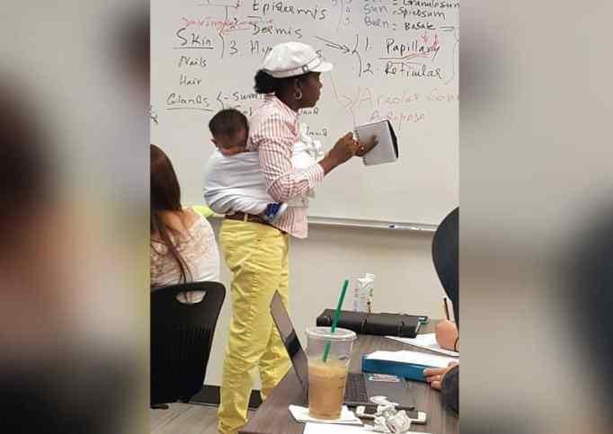 Professor at Georgia Gwinnett College carry student's baby.