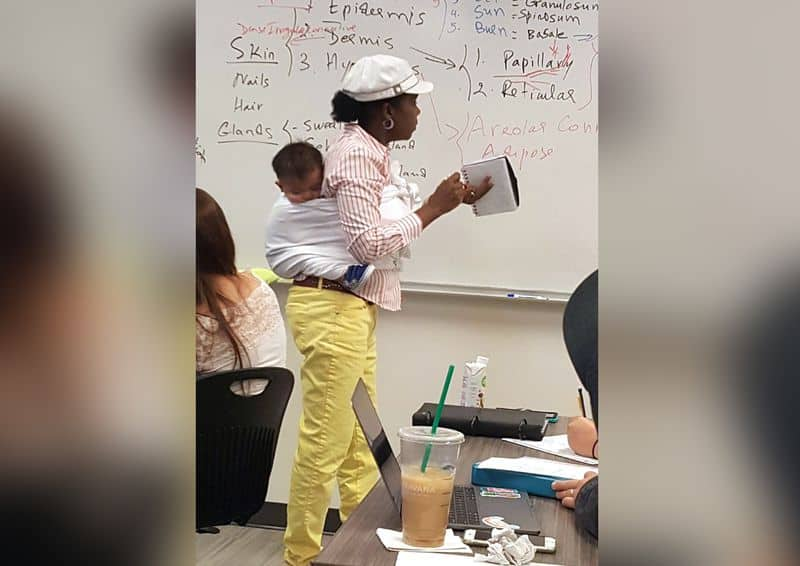 Professor at Georgia Gwinnett College carry student's baby.