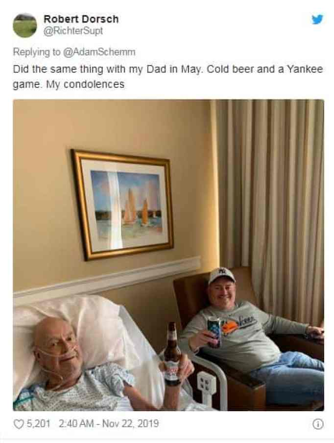 A man drinking beer with dying Dad
