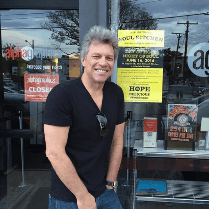Restaurants owned by Bon Jovi provide free meals to the poor.