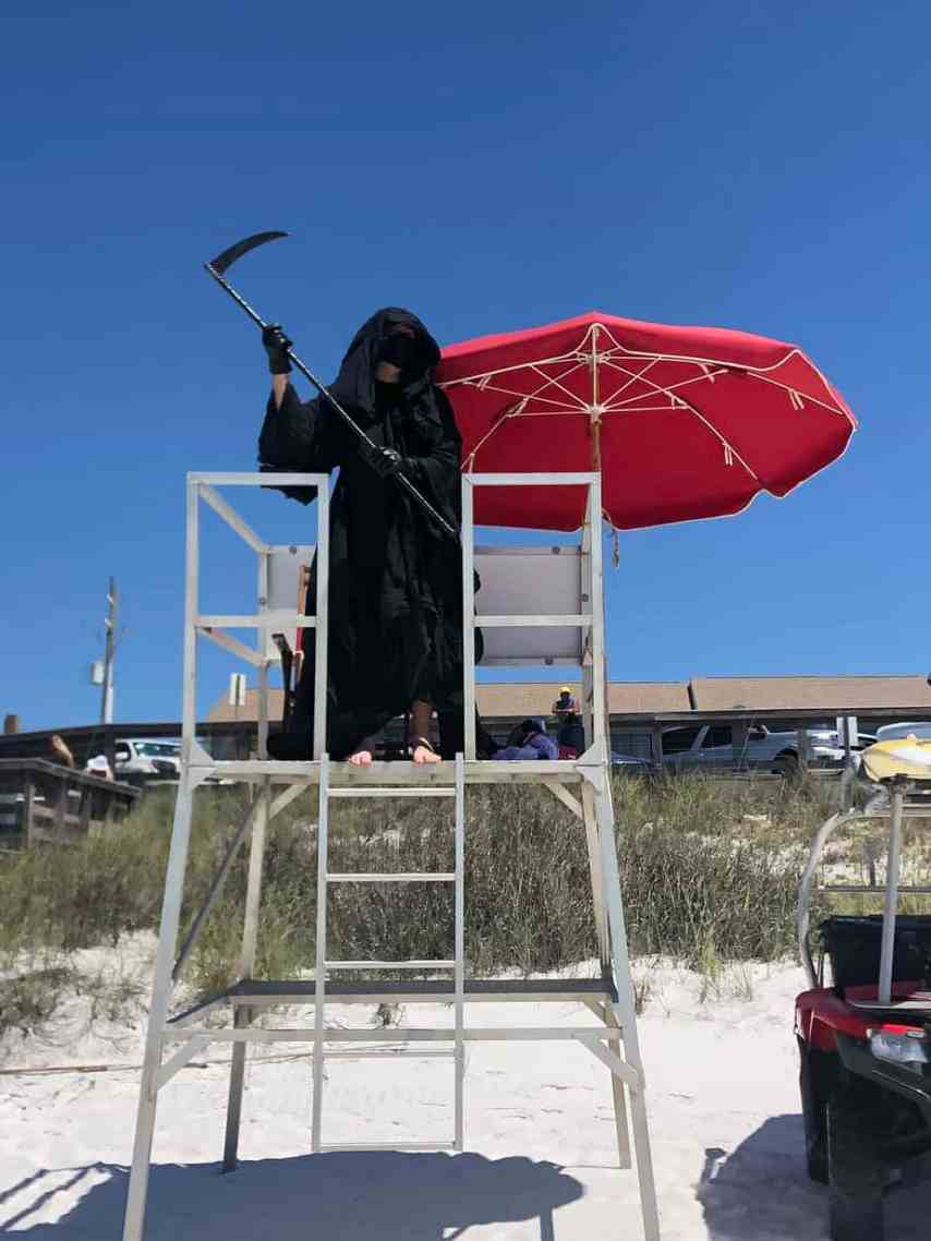 The grim reaper attorney haunts beaches.