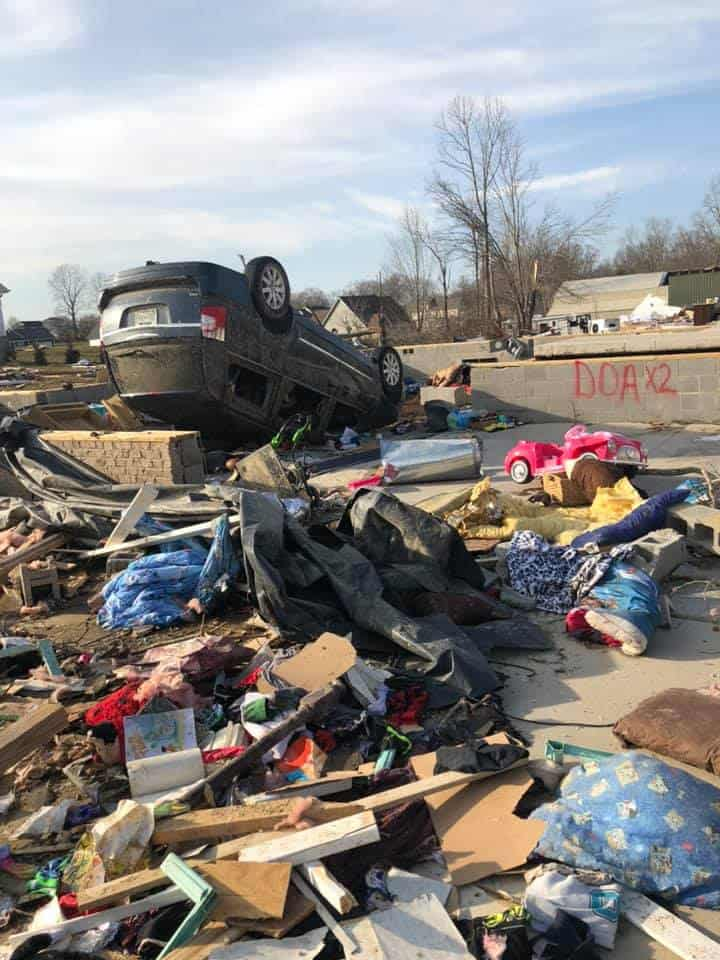 Tornado destroyed homes and cars.
