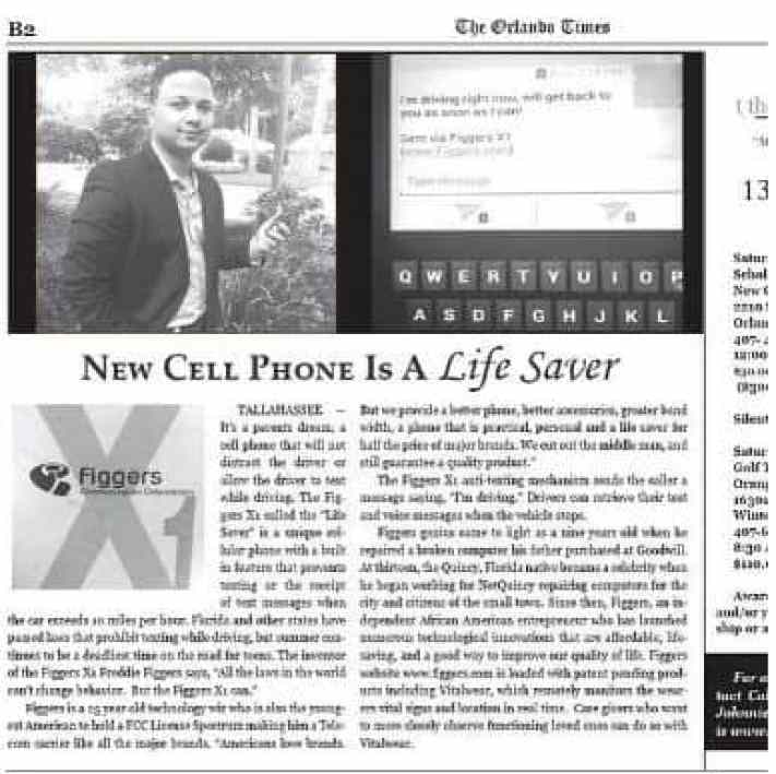 News article about Figger's invention, owner of multi-million dollar telecom company.