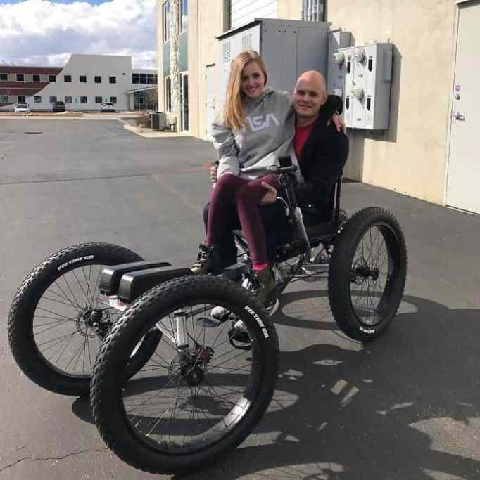 Man builds electric wheelchair for wife.