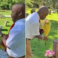 Teen with Down syndrome visits mother's grave to tell her that he graduated