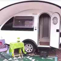 Woman lives in tiny teardrop trailer after retiring and it has everything she needs